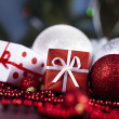 Christmas background with baubles and gift — Stock Photo #7121935
