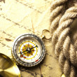 Antique brass compass over old map — Stock Photo #7170345