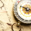 Antique brass compass over old map — Stock Photo #7170362