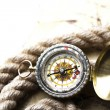 Antique brass compass over old map — Stock Photo #7170417