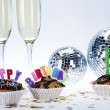Cupcakes spelling out happy birthday — Stock Photo