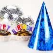 Cupcakes spelling out happy birthday — Stock Photo #7174276
