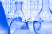 Blue chemistry vials — Stock Photo