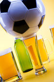 Beer collection, football — Stock Photo
