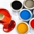 Paint buckets, paint and brush - Stockfoto