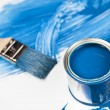 Paint buckets, paint and brush — Stockfoto