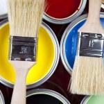 Paint buckets, paint and brush — Stock Photo #7193550