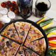 Fresh Pizza and italian kitchen — Stock Photo
