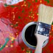 Brush and paint samples — Stock Photo