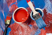 Paint buckets, paint and brush — Стоковое фото