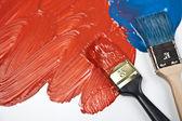 Amostras de pincel e tinta — Fotografia Stock