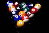 Billiard balls isolated on black — Stock Photo