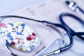 Tablets & Medicines and Stethoscope — Stock Photo