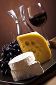 Still-life with cheese and wine — 图库照片