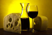 Still-life with cheese and wine — Stock Photo