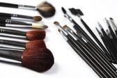 Brushes, makeup, cosmetics — Stock Photo