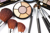 Colorful eyeshadows, accesories — Stock Photo