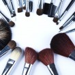 Brushes, makeup, cosmetics - Stock Photo