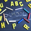 Stock Photo: School background, letters and chalkboard