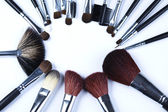 Brushes, makeup, cosmetics — Stock Photo