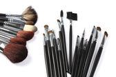 Cepillos, maquillaje, cosméticos — Foto de Stock