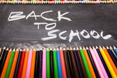 School, Colour pencils, Blackboard — Stock Photo