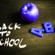 Back to school, nscription on blackboard — Foto Stock