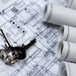 House on achitecture plans — Stock Photo
