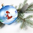 Christmas tree and Baubles — Stock Photo