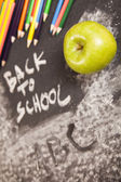 Apple on back to school — Stock Photo