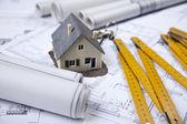 Plans & House — Stock Photo