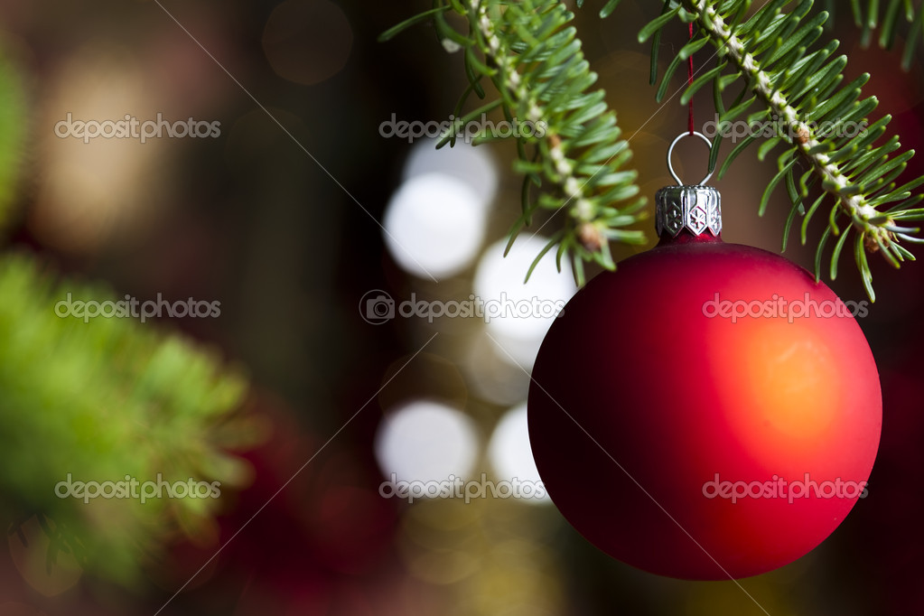 Photography of baubles and gift connected with Christmas time and Christmas tree. — Stock Photo #7379022