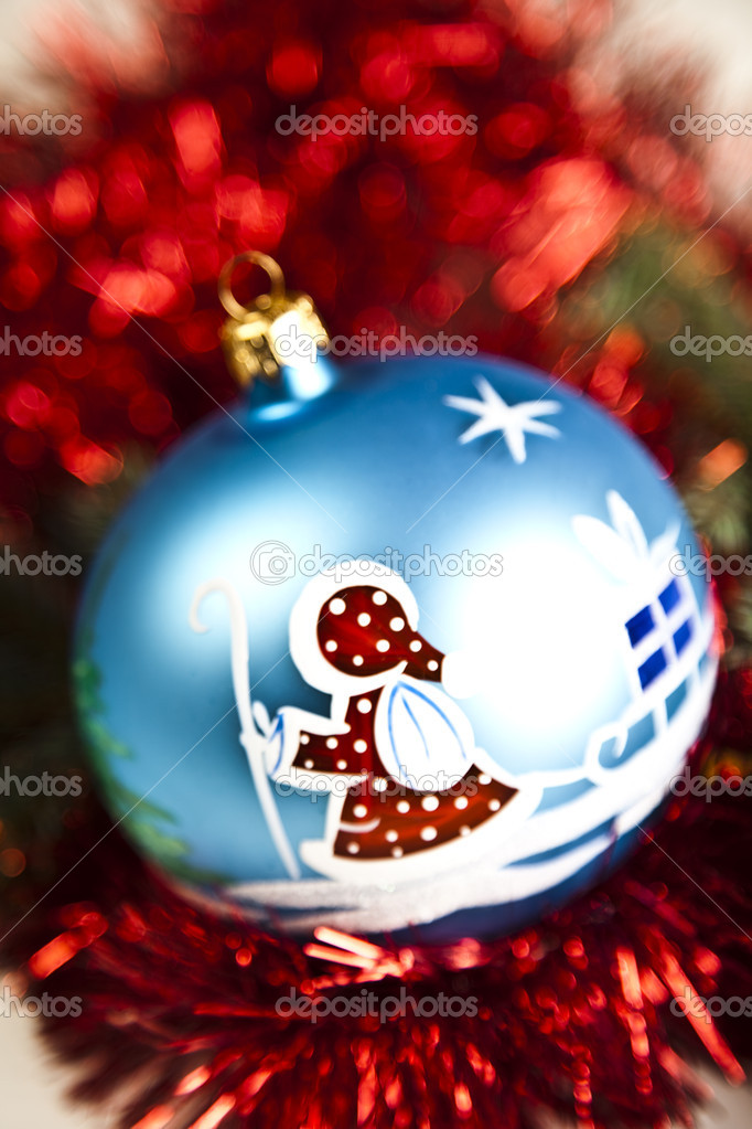 Photography of baubles and gift connected with Christmas time and Christmas tree. — Stock Photo #7379037