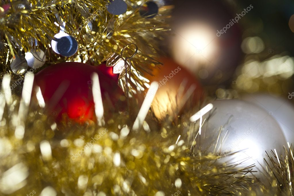 Photography of baubles and gift connected with Christmas time and Christmas tree. — Stock Photo #7379306