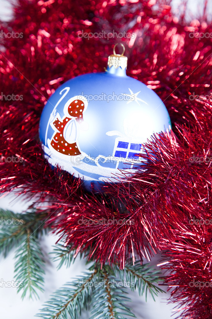 Photography of baubles and gift connected with Christmas time and Christmas tree. — Stock Photo #7379321