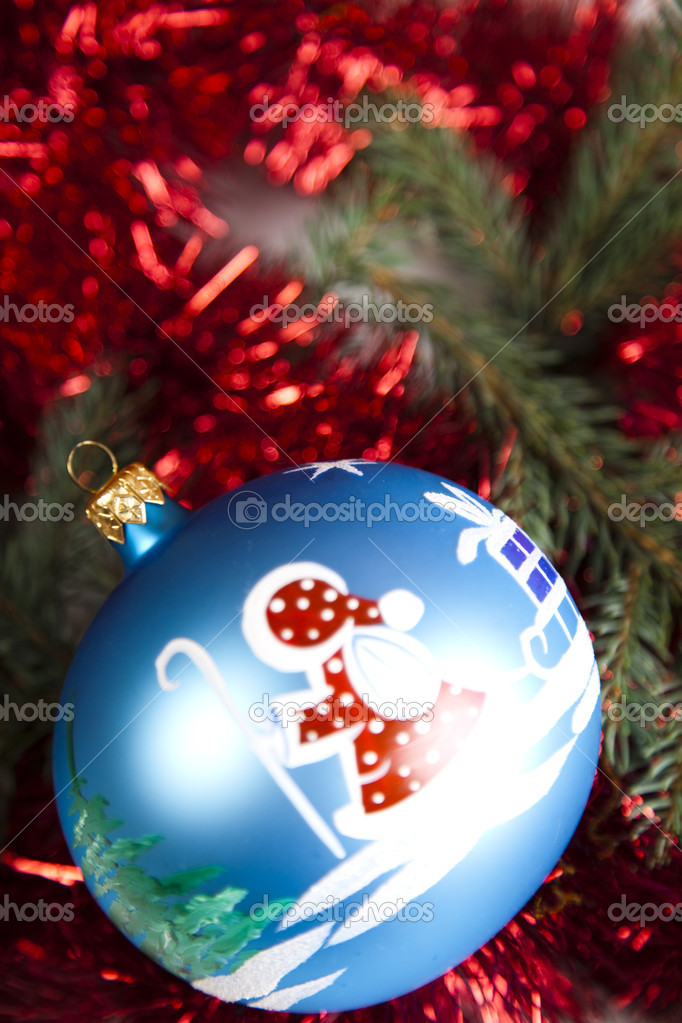 Photography of baubles and gift connected with Christmas time and Christmas tree. — Stock Photo #7379333
