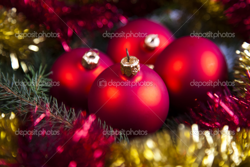 Photography of baubles and gift connected with Christmas time and Christmas tree. — Stock Photo #7379338