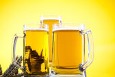 Glass of beer with grain — Stock Photo