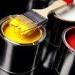 Stock Photo: Cans of paint with paintbrush