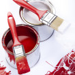 Paint buckets, paint and brush — Foto de Stock