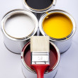 Paint and brush — Stockfoto