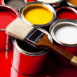 Paint buckets, paint and brush — Stock Photo