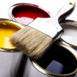 Paint, cans, brush — Stockfoto