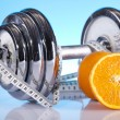 Weight loss, fitnes, dumbbell — Stock Photo #7408545