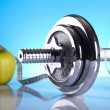 Weight loss, fitnes, dumbbell — Stock Photo #7408584