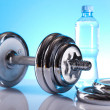 Weight loss, fitnes, dumbbell — Stock Photo #7408595