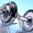Weight loss, fitnes, dumbbell — Stock Photo #7408610