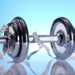 Weight loss, fitnes, dumbbell — Stock Photo #7408621