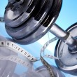 Dumbell, Fitness background — Stock Photo