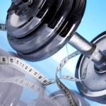 Dumbell, Fitness background — Stock Photo